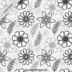 Great pattern with different hand-drawn flowers