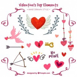 Hand-drawn pack of decorative elements for valentine's day