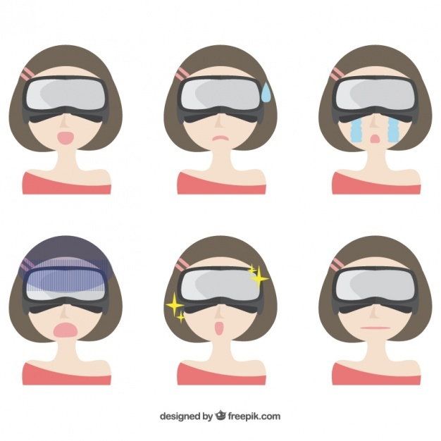 Woman with virtual reality glasses and different facial expressions