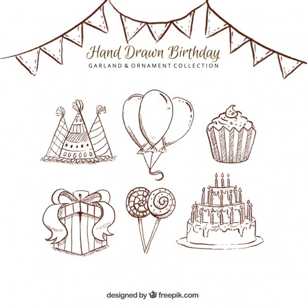 Birthday party elephant sketches pack
