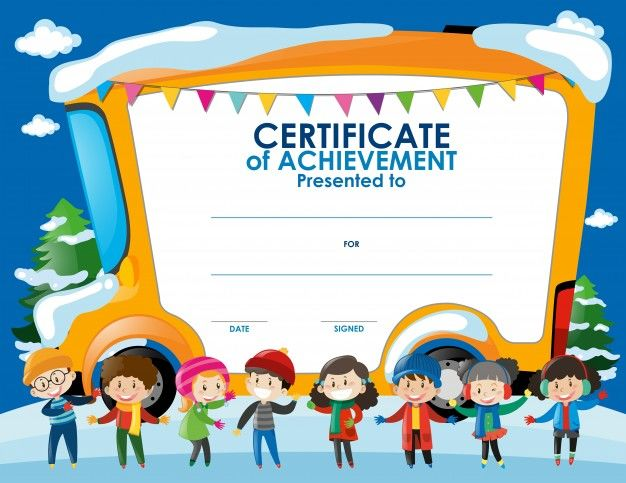 Certificate template with children in winter epin free graphic certificate template with children in winter yadclub Choice Image