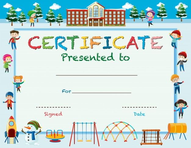 Certificate template with kids in winter at school epin free certificate template with kids in winter at school yadclub