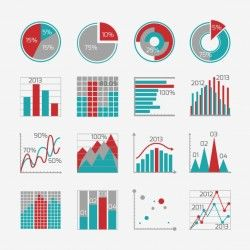 Collection of graphs with different designs for infographic