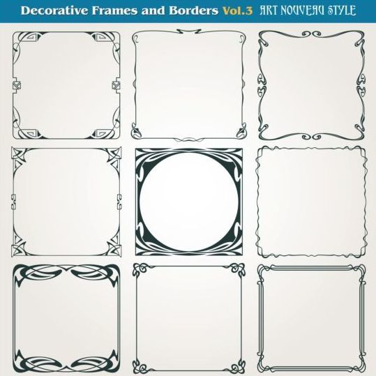 Decorative frame with borders set vector 03