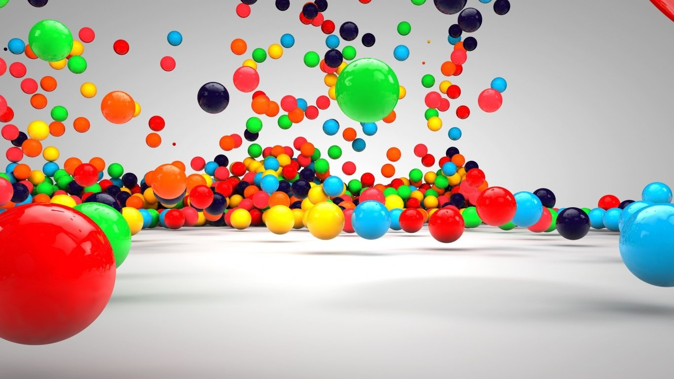 Balls, Fall, Surface, Colorful laptop 1366×768 HD Background