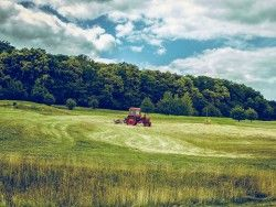 Download Wallpaper 1600×1200 Tractor, Field, Grass, Agriculture 1600×1200 HD Background