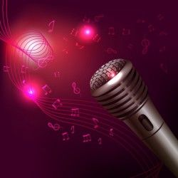 Purple music background with microphone
