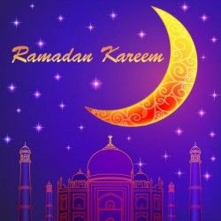 Ramadan Kareem With Moon Background Vector 04