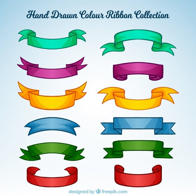 Set of hand-drawn colorful ribbons