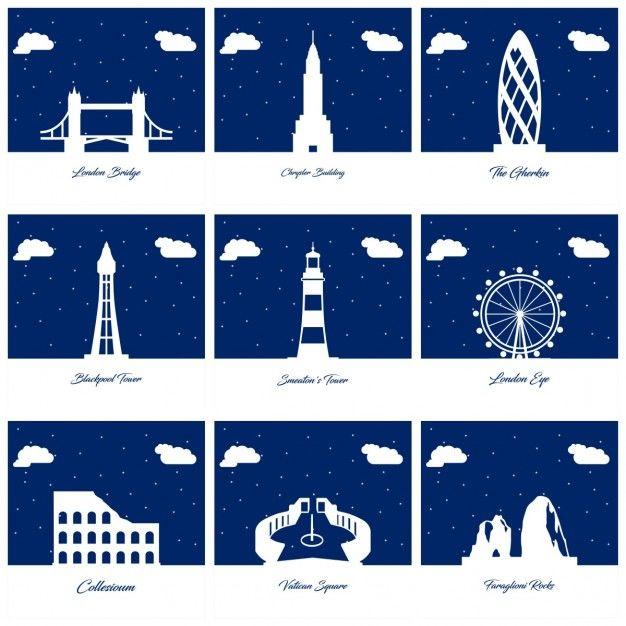 9 silhouettes of monuments