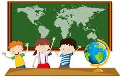 Three students study geography in class