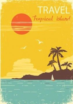 Tropical island air travel vintage poster vector 06