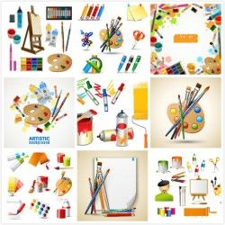 Painting supplies vector