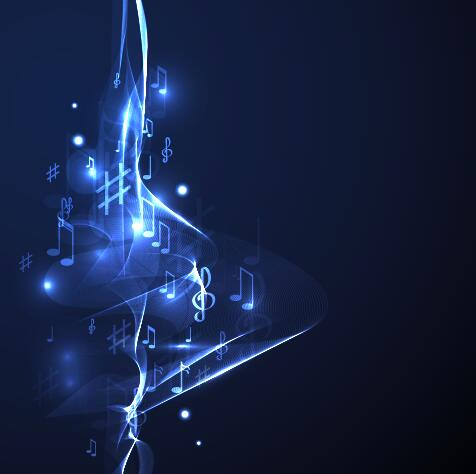Abstract music background blue style vector 01