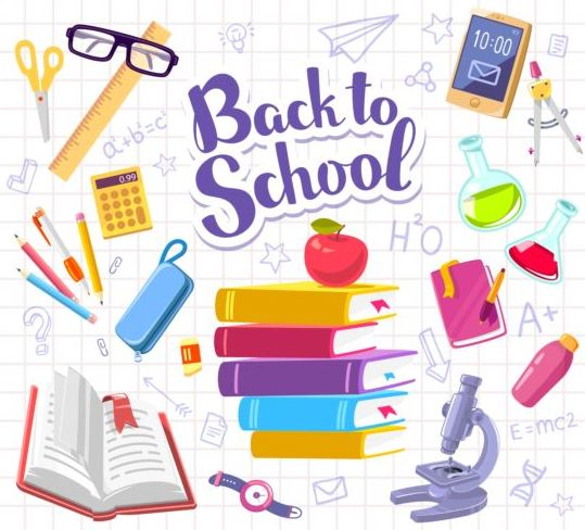 Back to school sticker with stationery vector 01
