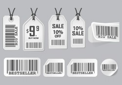 Barcode Advertisement Sticker Design Vector set