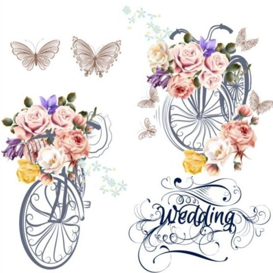 Beautiful bicycles with realistic roses wedding card vector 01