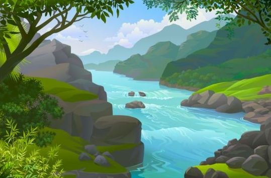 Beautiful Jungle landscape vector graphics 08