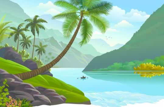 Beautiful Jungle landscape vector graphics 03