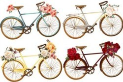 Bicycles with roses flower vector material