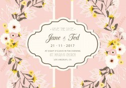 Blush Floral Wedding Card Illustration