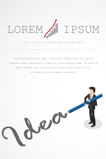 Businessman with pencil vector template 07