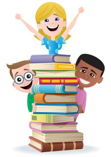 Children with books vector design 01