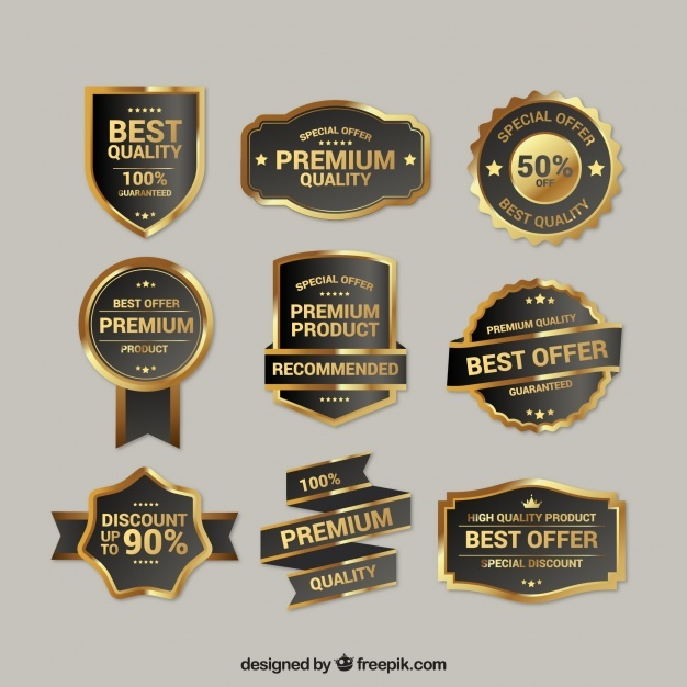 Collection of premium quality golden insignia