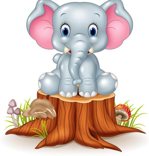 Cute elephant with tree stump vector