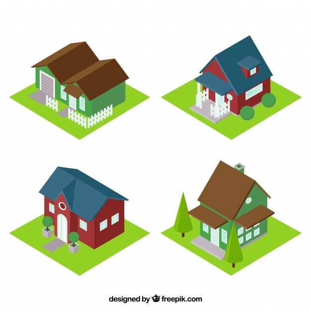 Fantastic houses in isometric style