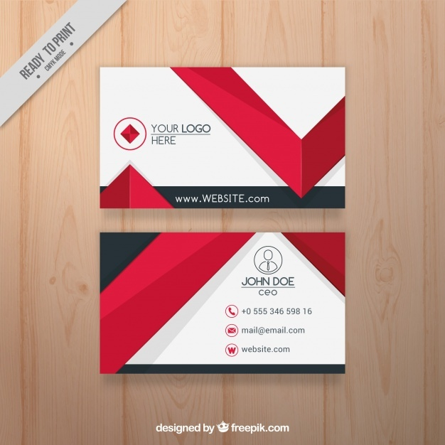 Flat business card with red elements