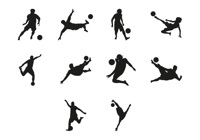 Free Beach Soccer Silhouettes Vector