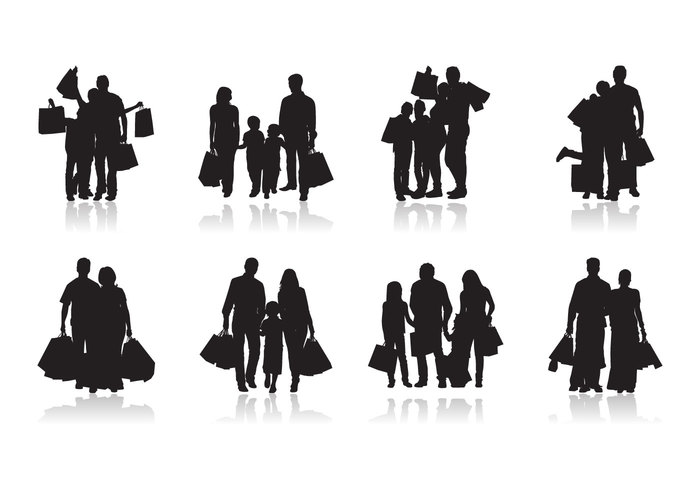 Free Family Shopping Silhouette Vector
