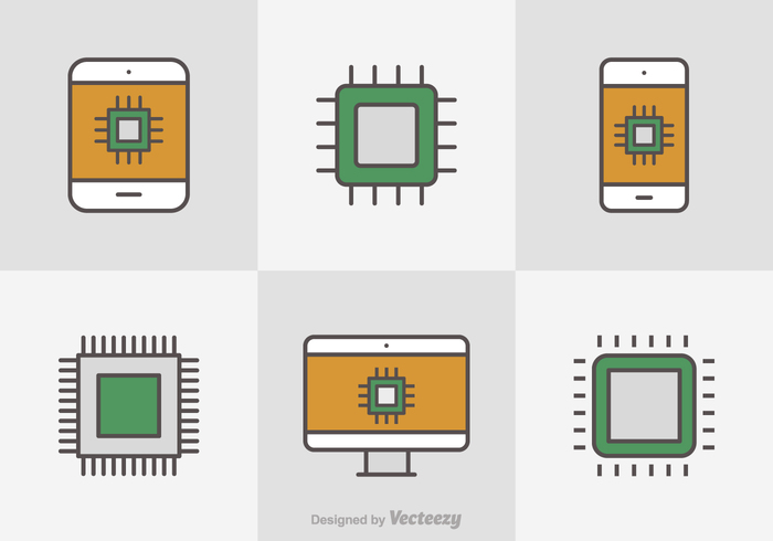 Free Flat Line Microchip Vector Icons