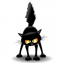 Frightened carton cat vector
