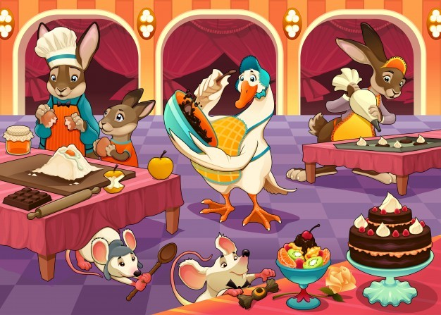 Funny animals are cooking cakes and cookies vector cartoon illustration