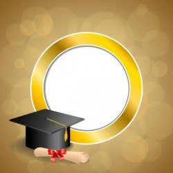 Graduation cap with diploma and golden abstract background 08