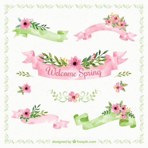 Great collection of spring ribbons in watercolor style