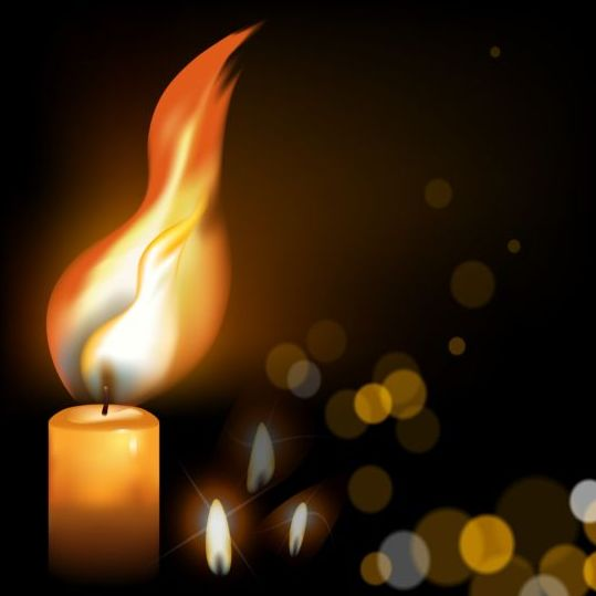 Halation background with fire candle vector 01