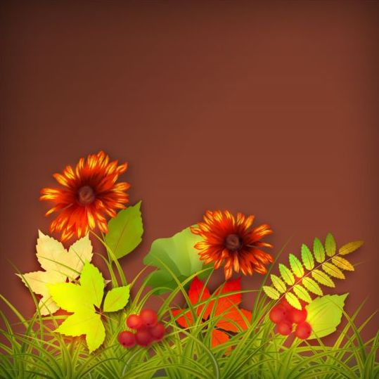Harvest season with brown background vectors 05