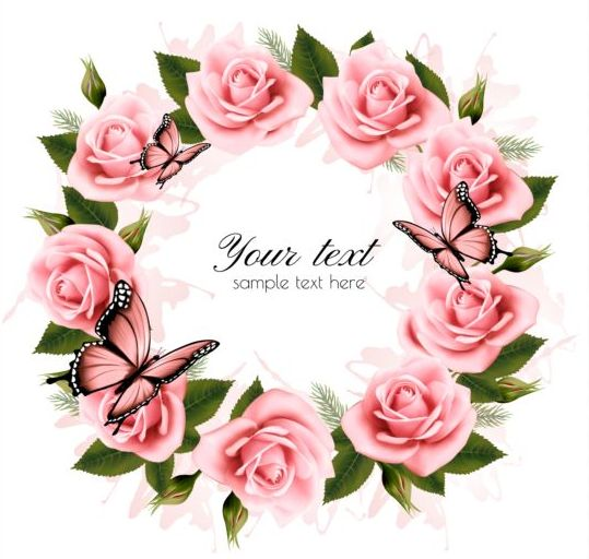 Holiday background with pink beautiful flowers and butterflies vector 01