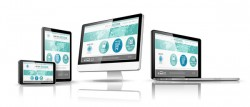 Laptop with monitor and tablet display template vector 09