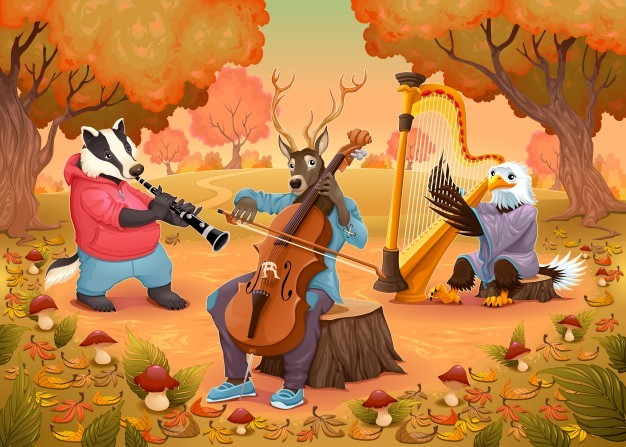Musician animals in the wood cartoon and vector illustration