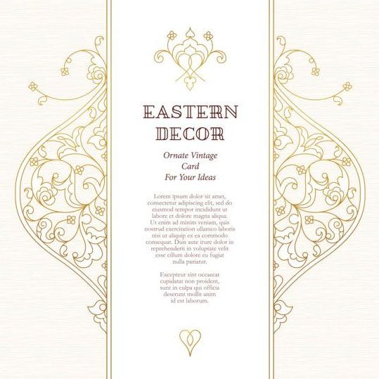 Ormate vintage card with eastern decor vector