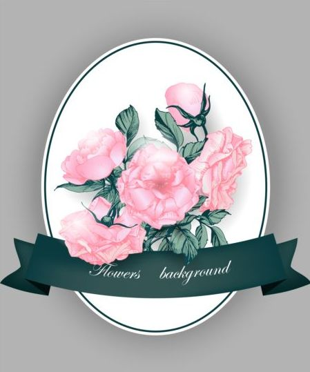 Pink flower card with green ribbon vector
