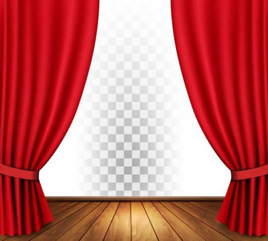 Red curtain and wood floor with art background vector