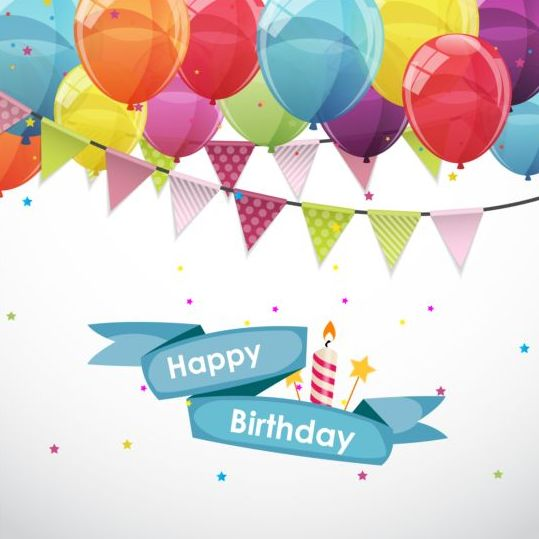 Ribbon birthday banner with colorful balloons vector 03