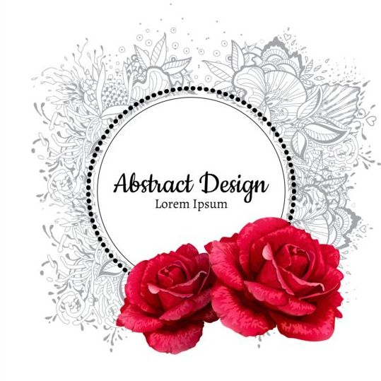 Roses with floral frame vector 01