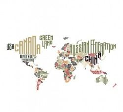 Text with world map vectors 01