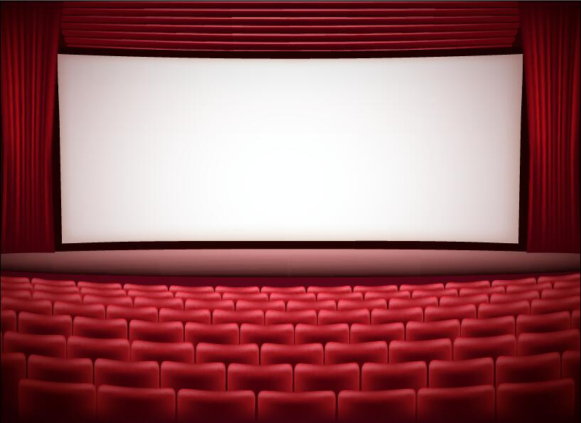 Theater hall red style design vector 04